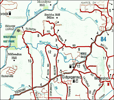 Map Perth-Gidge-Toodyay